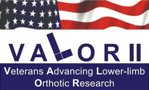 Logo that says VALOR Veterans Advancing Lower-limb Orthotic Research